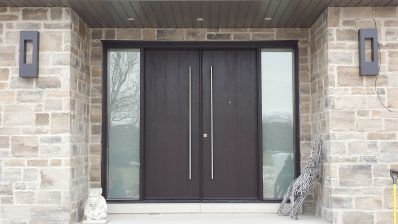 Double doors with frosted sidelites
