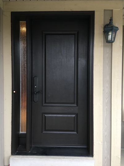 Mastergrain fiberglass door with panel frosted sidelite