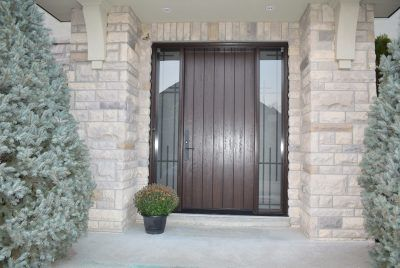Front door with iron sidelite