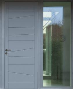 Modern door with acid etched sidelites